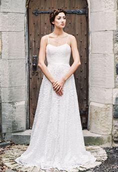 Skinny Strap A-Line Wedding Dress | Sareh Nouri Wedding Dresses Fall 2015 | Blog.theknot.com