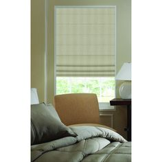 Roman Shades Ashton Stripe Linen Plain Fold Shade (26W x 56H Linen), Brown Taupe (Polyester)
