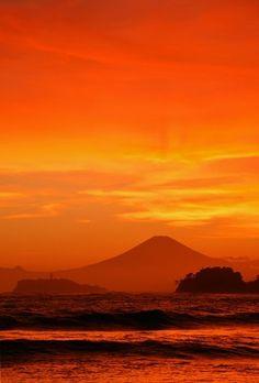 Orange Sky, Mt. Fuji from Zushi, Kanagawa, Japan