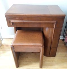 Vintage Singer Art Deco Sewing Machine Cabinet W/ Matching Stool Very Nice