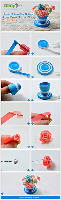Tutorial on How to Make a Blue Quilling Paper Flower Pot and Flowers for Home Décor from LC.Pandahall.com