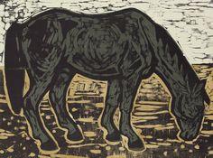 Dark Horse - Woodcut by Kent Ambler