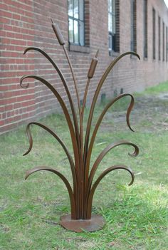 Hand-forged Garden Sculpture. Cattails with Rust Patina by Phoenix Handcraft via Etsy