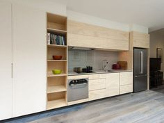 natural timber white mixed with stainless with a black frame highlighting the overhead cabinets Constructed entirely of ply, this compact solution is built for style and function, showcasing Cantilevers furniture crafting skills and precision with detail. Plywood Furniture, Kitchen Furniture, Kitchen Interior, How To Clean Furniture, Inexpensive Furniture, Furniture Cleaning, Top Furniture Stores, Furniture Websites, Furniture Online