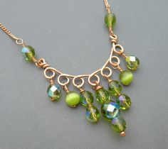 Copper and Green Czech Glass Necklace.