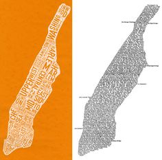 """two of my favorite maps of manhattan - ork posters on the left and a poem by howard horowitz (""""manhattan,"""" on the right Manhattan Map, Life Aquatic, Cartography, Poster On, Serendipity, Digital Illustration, My Heart, Medieval, Art Projects"""