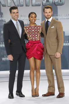 Zachary Quinto, Zoe Saldana, and Chris Pine continued their whirlwind Star Trek Into Darkness world press tour. This time the trio were spotted looking dapper in Berlin for the German premiere of the highly anticipated flick.