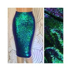Green Iridescent Sequin Pencil Skirt by SPARKLEmeGORGEOUS on Etsy