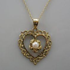 Heart Shaped Pendant with Pearl Diamond Rings, Diamond Engagement Rings, Galway Ireland, Pearl Pendant, Pearl Jewelry, Unique Vintage, Heart Shapes, Gold Necklace, Pendants