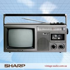 Sharp Television- and Radio Receiver Radios, Tv Mount Over Fireplace, Pioneer Audio, Sharp Tv, Tvs, Portable Tv, Hi Fi System, Old Technology, Vintage Television