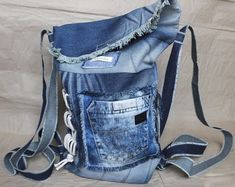 Garyusha Denim Bags Design, Denim Riga, Latvia by GaryushaDenimBags Grunge Backpack, Hipster Backpack, Jean Backpack, Denim Fashion, Star Fashion, Fashion Bags, Denim Tote Bags, Recycled Denim, Vintage Jeans
