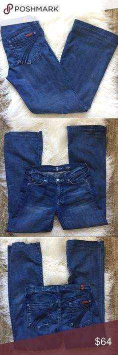 """7FAMK """"dojo medium wash jeans 7FAMK """"dojo medium wash jeans.  Cute and soft jeans.  Classic dark 7 on the dojo style jean pockets. EUC no major wear.  These have been hemmed.  Size 27. Approximate measurements 30"""" waist, 8"""" front rise, 29"""" inseam, 39"""" outside leg length, 10"""" leg opening. 7 For All Mankind Jeans Flare & Wide Leg"""