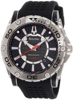 dbe3700a545 Bulova 96B155 Men s Precisionist Champlain Black Rubber Strap Charcoal Grey  Dial Watch Bulova Mens Watches
