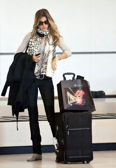 Gisele, travel style, at Paris Airport