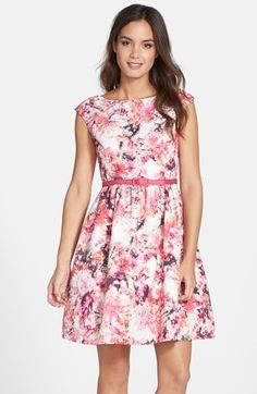 Eliza+J+Belted+Print+Faille+Fit+&+Flare+Dress+(Regular+&+Petite)+available+at+#Nordstrom