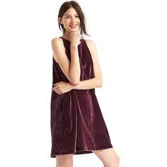 Gap Women Velvet Swing Dress ($90) ❤ liked on Polyvore featuring dresses, rich wine, tall, mid thigh dress, tent dresses, purple sleeveless dress, pocket dress and no sleeve dress