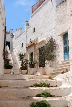 The alleys and narrow streets of the white city of Ostuni, Puglia, South Italy.: