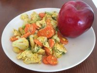 Eggs and Vegetables, With an Apple