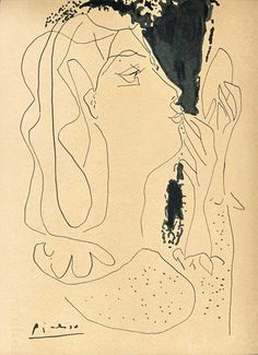"""Dionyssos"" by Pablo Picasso , ink drawing Kunst Picasso, Pablo Picasso Drawings, Picasso Sketches, Art Picasso, Picasso Paintings, Art Drawings, Pablo Picasso Zeichnungen, Art Postal, Tinta China"