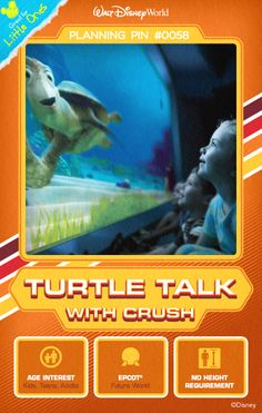 Walt Disney World Planning Pins:  Gather 'round a window to the ocean for a real-time Q-and-A session with your favorite totally tubular turtle. Righteous!