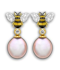 Yellow Gold, Freshwater Pearl and Diamond Bee Drop Earrings, by Theo Fennell.  £2500 #bee #necklace #pearl