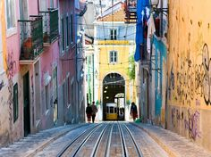 Get your daily dose of outstanding travel photos. Today: A tram sits at the bottom of a steep hill in Lisbon, Portugal.
