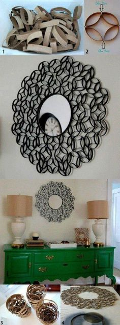 Recycle your toilet roll tubes into a fabulous DIY decorative mirror. With glue and spray paint you can have a gorgeous DIY home decor accent piece in no time at all!