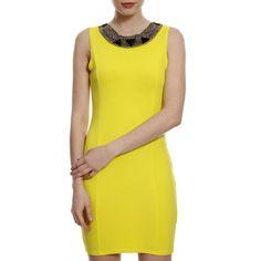 Vestido Neoprene Amarelo Bordado