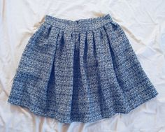 1950s style wide blue bouclé skirt, handmade in Italy