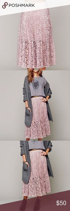 Free People Pretty Pleats Lace Maxi Skirt Sheer lace with partial lining.  Faux-leather waistband.  Knife pleats.  A-line silhouette.  Polyester; polyurethane. Free People Skirts Maxi