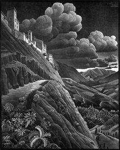 Castrovalva, lithograph 1930  Escher was a perfectionist who strove to realise his 'visions' through meticulous study and practice. The seem...