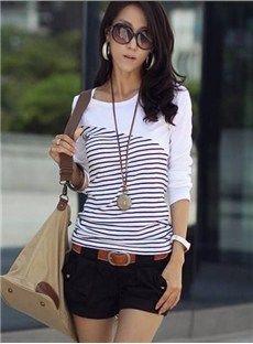 Soft Split Joint Round Neckline Long Sleeve Elastic T-Shirt