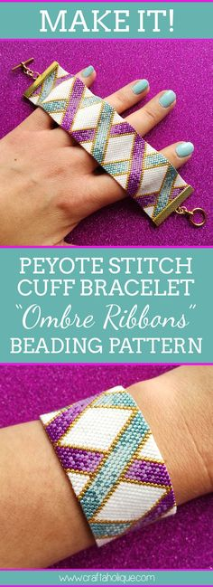 My latest peyote bracelet pattern, Ombre Ribbons. A great beading project for beginner and intermediate beaders. Plus see a free tutorial on peyote stitch!