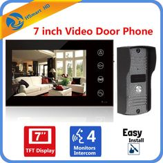 """Home Security 7"""" Inch TFT Touch Screen LCD Color Video Door Phone Doorbell Intercom system Night Vision Eye Camera Doorphone #Affiliate"""