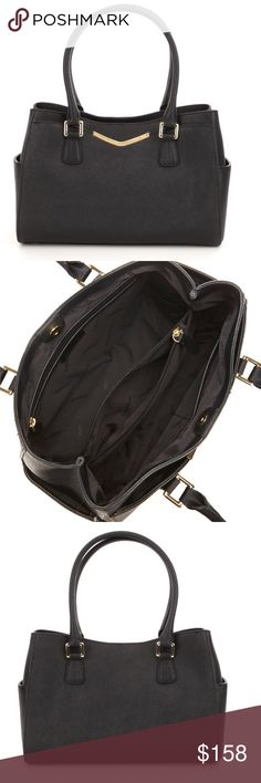 """Calvin Klein Saffiano Leather Satchel Calvin Klein Saffiano Leather Satchel. Magnetic  snap closure, center dividing zip compartment, 2 slip pockets, zip pocket inside, front pocket, and 2 side slip pockets outside. Size approximately 12 x 4 x 8"""". Handle drop 8"""". Color Black. BRAND NEW WITH TAGS Calvin Klein Bags Satchels"""