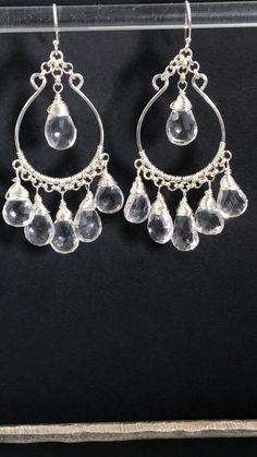 Sterling Silver Crystal Quartz Hoop Earrings - Shimmering quartz crystal briolettes dangle from hand formed sterling silver hoop earring to create - Beaded Earrings Patterns, Beaded Jewelry, Fine Jewelry, Jewellery, Diamond Jewelry, Silver Jewelry, Silver Hoop Earrings, Stud Earrings, Statement Earrings