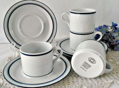 Dansk Bistro Cups and Saucers Blue and White Set of by GSaleHunter