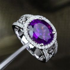 Oval Dark Purple Amethyst Engagement Ring Pave Diamond Wedding 14k White Gold 9x11mm - Lord of Gem Rings - 1