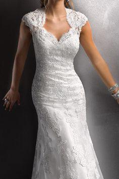 Vintage Sheath Queen Ann Open Back Tulle Lace Wedding Dress