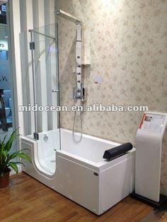 Midocean walk in bathtub with shower screen Shower Mirror, Bathtub Shower, Bath Tubs, Shower Doors, Bathroom Storage, Bathroom Ideas, Bathtubs For Small Bathrooms, Walk In Bathtub, Shower Shelves