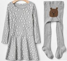 Girl GAP Lot Grey Jersey Ribbon Flare Dress + Cable Tights Play School Cotton 4T…