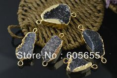 Unique Gold Wrapped Drusy Black Geode Agate Pendant with Two Loops for fashion Jewelry Necklace Making Connector-in Pendants from Jewelry on Aliexpress.com | Alibaba Group