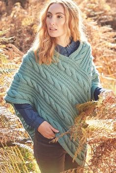 Knitting Pattern for Hayfield Cable Poncho - It looks like this poncho is knit in two identical rectangular pieces and seemed. Designed by Hayfield. Crochet Yarn, Hand Crochet, Poncho Knitting Patterns, Knitting Supplies, Knitted Poncho, Poncho Shawl, Crochet Patterns For Beginners, Chunky Yarn, Cable Knit