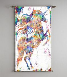 Gift for Kids Geometric Unicorn Horse Wall Art Abstract Painting Print Poster…