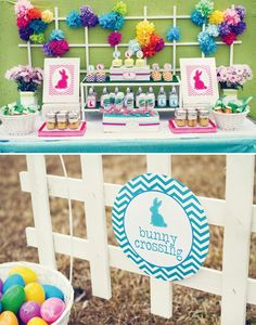easter-bunny-chevron-birthday-party-dessert-table-colorful