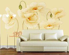 Mur murales, papier peint, grande fleur beige sur mur d'oie jaune, à l'huile peinture murale effet, Vintage, Home Decor, Floral sticker mural