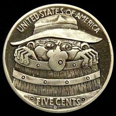TIM WOLF HOBO NICKEL - HOBO IN A RAIN BARREL - BUFFALO NICKEL REVERSE CARVING Old Coins, Rare Coins, Pewter Art, Hobo Nickel, Coin Art, Old Money, Coin Collecting, Metal Art, Sculpture Art