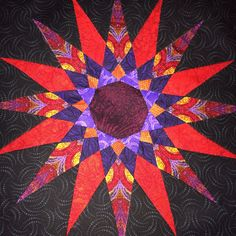 Block 9 Solstice Quilt from Jinny Beyer Black White Red, Paper Piecing, Quilting Projects, Triangles, Quilt Blocks, Jin, Craft Ideas, Quilts, Crafts