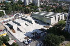 Completed in 2008 in Rijeka, Croatia. Images by Domagoj Blazevic + Situated in Rijeka's quarter Zamet, the new Zamet Centre in complete size of 16830 hosts various facilities: sports hall with max 2380 seats,. Cultural Center Architecture, Layered Architecture, Folding Architecture, Modern Architecture Design, Modern Buildings, Concept Architecture, Sport Hall, Sports Complex, Modelos 3d
