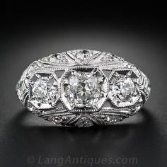 Vintage Diamond Three-Stone Engagement Ring - Diamond Rings - Shop for Jewelry